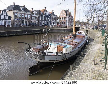 Netherlands - Dokkum - Circa April 2015: Luxury Sailboat Moored In The Harbor Of Dokkum.