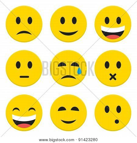 Character Emotions Happy And Sad Vector Icons Set Isolated Over White