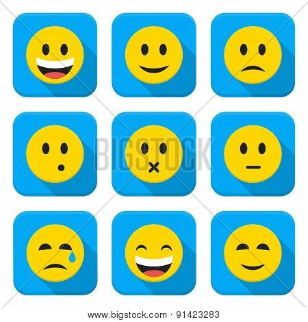 Character Emotions Vector App Icons Set Isolated Over White