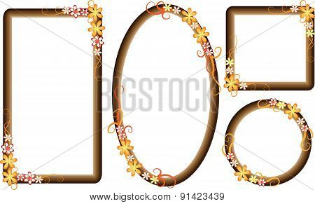 vector flowers with frame