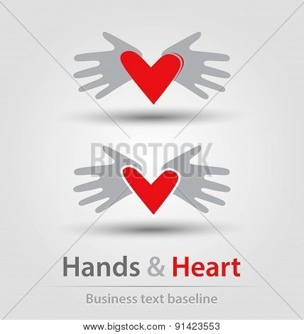 Hands And Heart Busines Icons