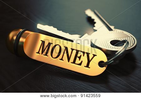 Money Concept. Keys with Golden Keyring.
