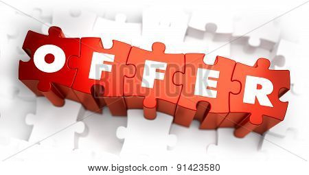 Offer - White Word on Red Puzzles.
