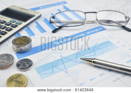 Glasses, Calculator And Coin On Financial Chart And Graph, Accounting Background