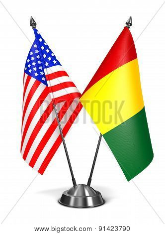 USA and Guinea - Miniature Flags.