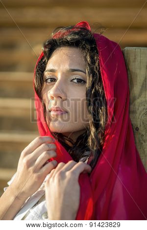 Young Girl With Red Scarf