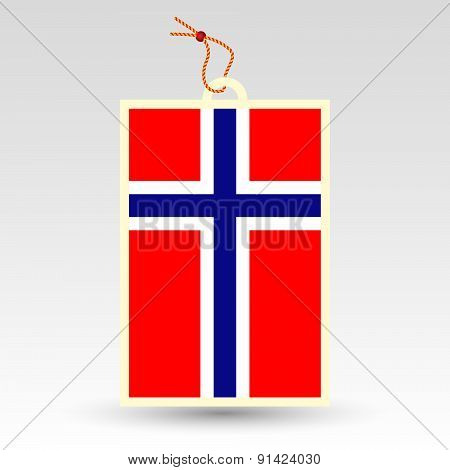Vector Simple Norwegian Price Tag - Symbol Of Made In Norway - Flag