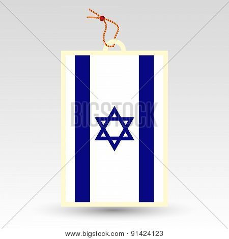 Vector Simple Israeli Price Tag - Symbol Of Made In Israel - Flag