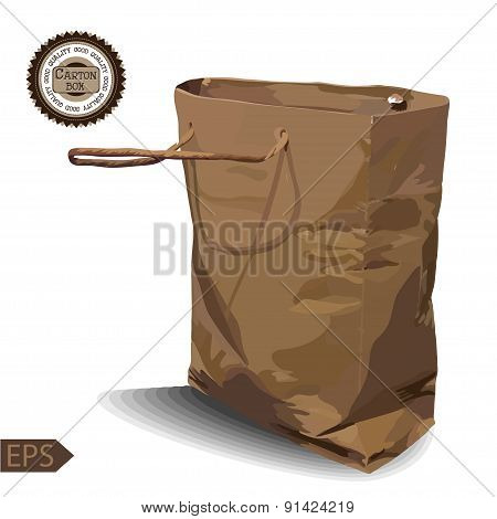 Craft Paper Shopping Bag on a white background.