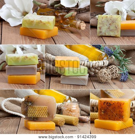 Collage Of Colorful Handmade Soap Bars, On Wooden Background