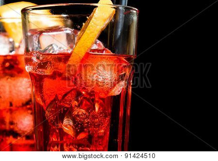 Close-up Of Spritz Aperitif Aperol Cocktail With Orange Slices And Ice Cubes
