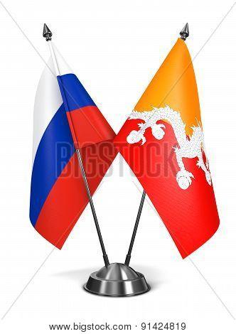 Russia and Bhutan - Miniature Flags.