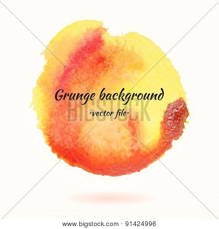 Watercolor Grunge Background Vector Yellow And Orange Circle