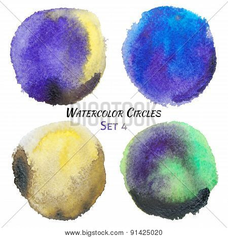 Watercolor Purple Yellow And Green Colorful Circles Set