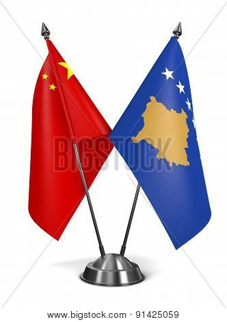 China and Kosovo - Miniature Flags.