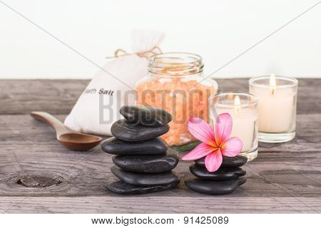 Spa With Bath Salt, Stones And Candles