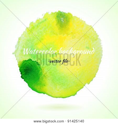 Watercolor Vector Background Light Green And Yellow Circle
