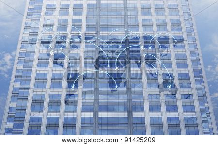 Global Business Connection Concept On Window Tower, Elements Of This Image Furnished By Nasa