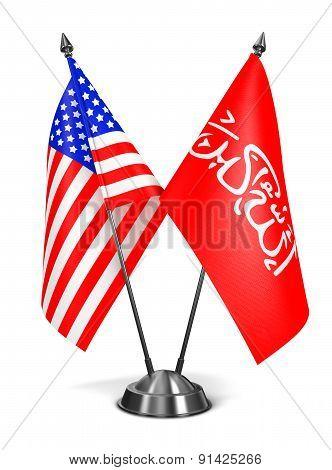 USA and Waziristan - Miniature Flags.