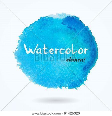 Watercolor Vector Bright Blue Element