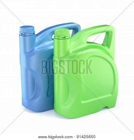 Plastic Canisters Motor Oil With Copypaste Spase Isolated On White Background
