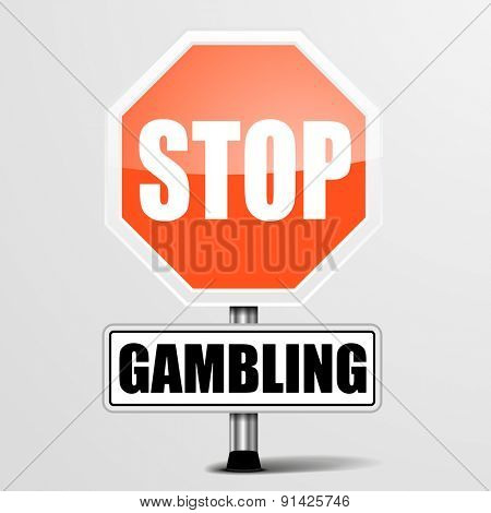 detailed illustration of a red stop Gambling sign, eps10 vector