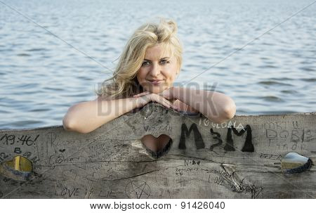 Blond Woman Posing At Lake