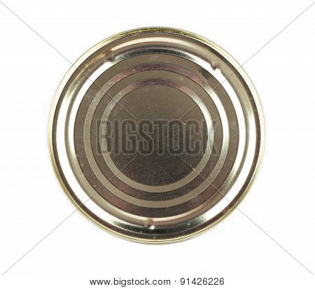 Lid Or Base Of Food Tin Can, Isolated On White Background