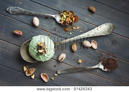 Scoop of homemade pistachio ice cream