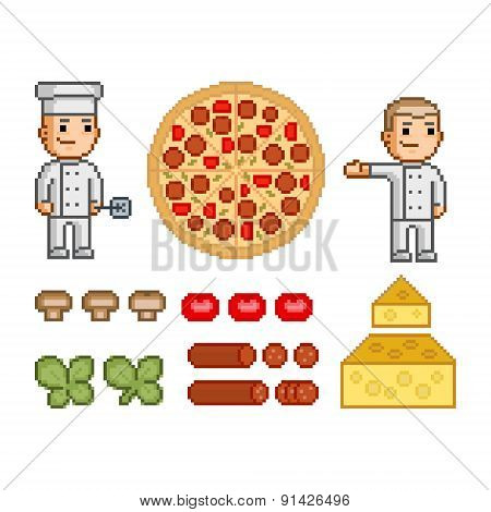 Pizza maker, pizza and ingredients