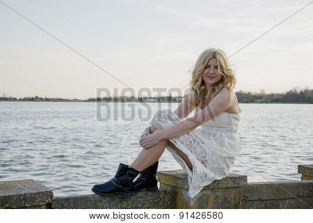 Blond Woman In White Lace Dress