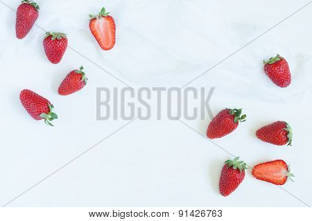 Fresh summer strawberries vegetarian clean eating super vitamin food with empty frame for lorem ipsu