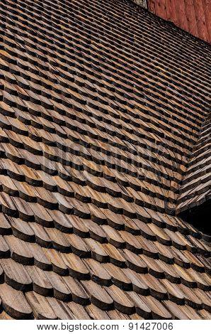 Wooden Roof Tiles On Gamla Uppsala Old Church