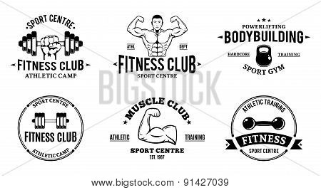 Sport and Fitness Gym Labels Templates, Athletic Labels and Badges