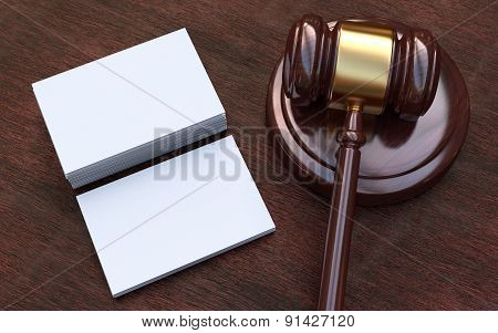 Judge Gavel, White, Blank Business Cards