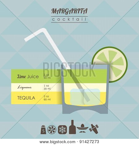 Margarita cocktail flat style illustration with icons of recipe