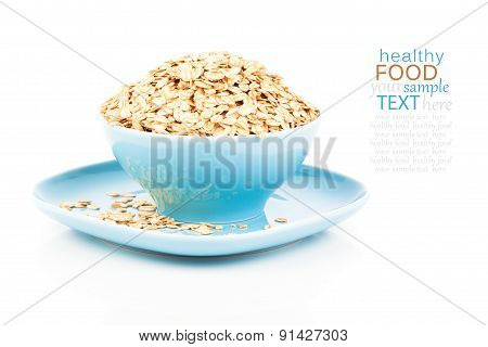Cornflakes In Porcelain Bowl Isolated On White Background