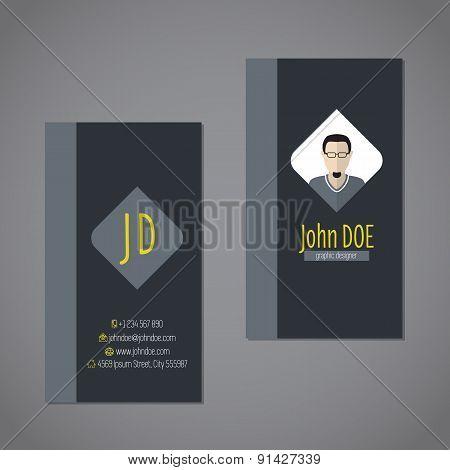 Modern Business Card With Dark Background