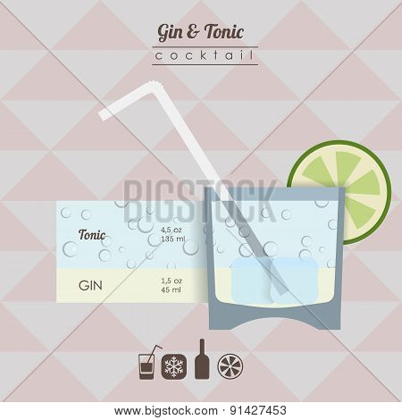 gin and tonic cocktail flat style  illustration with icons of re