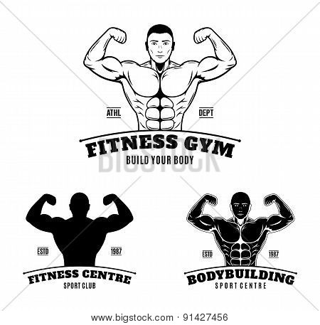 Bodybuilding and Fitness Gym Labels and Emblems