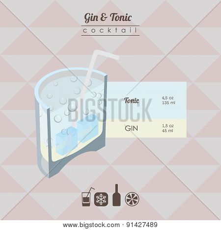 gin and tonic cocktail flat style isometric illustration with ic