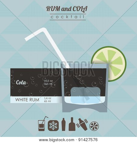 Rum and cola  cocktail flat style  illustration with icons of re