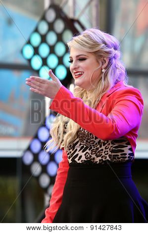 NEW YORK - MAY 22: Singer Meghan Trainor performs at NBC's Toyota Concert Series at Rockefeller Plaza on May 22, 2015 in New York City.