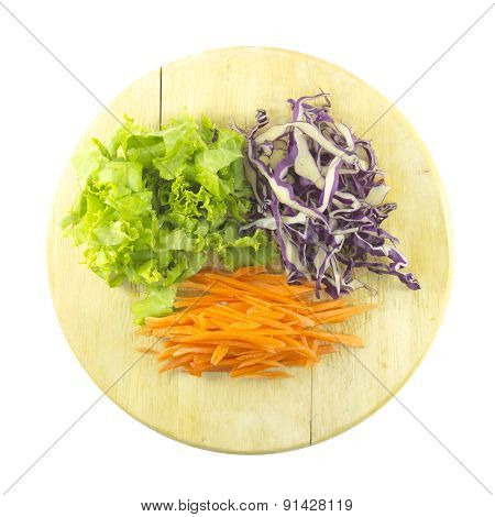 Carrot Cabbage And Lettuce Salad Ingredient On Chopping Board