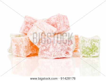 Delicious Dessert Turkish Delight, On A White Background