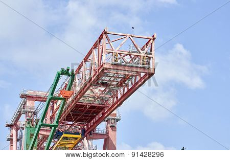 Crane In The Harbour Of Genova