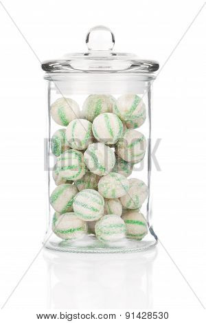 Photograph Of A Beautiful Jar Full Of Colorful Candies, On A White Background
