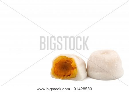 White Mochi With Salted Egg Flavor On White Background