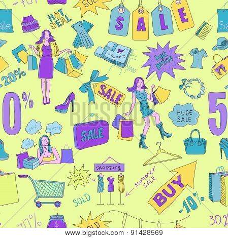 Colored Sale seamless pattern background