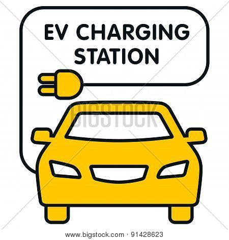 Ev Charging Station Signboard With The Yellow Car